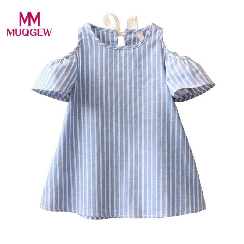 533dbe229 Blue Stripe Summer Children Kids Baby Girls Dress Cotton Casual ...