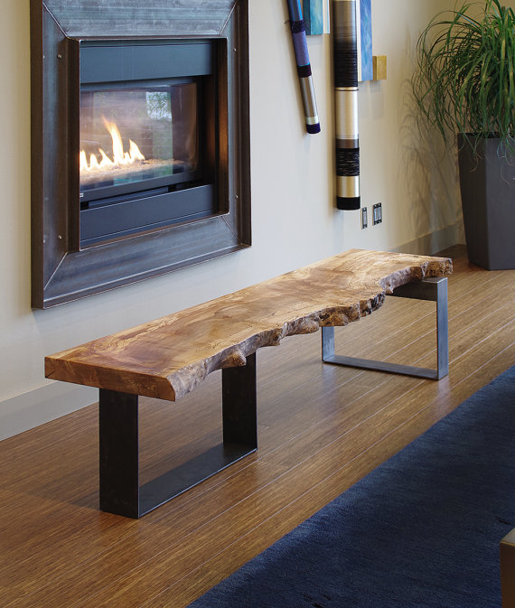 Photo of Live edge coffee table from urban salvage wood and high recycled content steel – north | west table – modern industrial natural edge