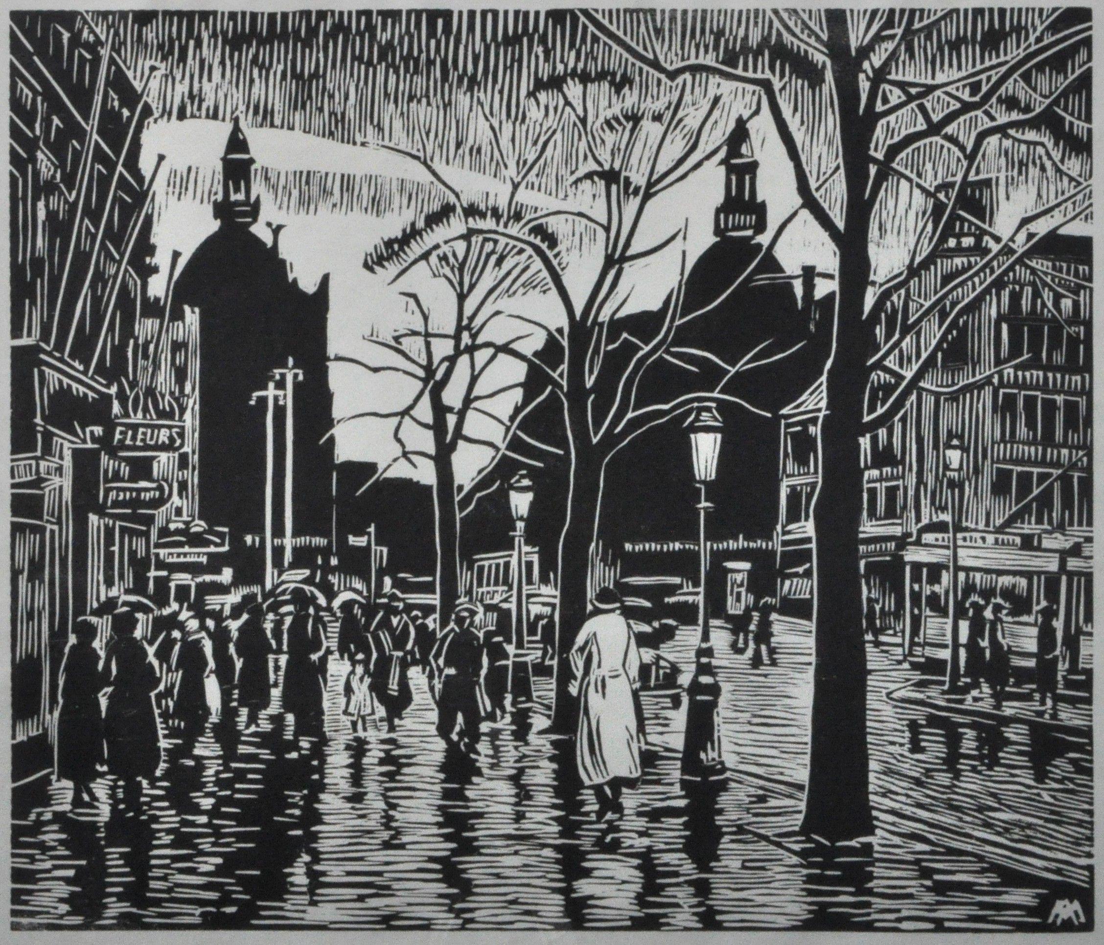 "Alphonse Mora, ""Antwerpse Meir in de regen"". Linosnede. / ""La Meir à Anvers sous la pluie"". Linogravure."