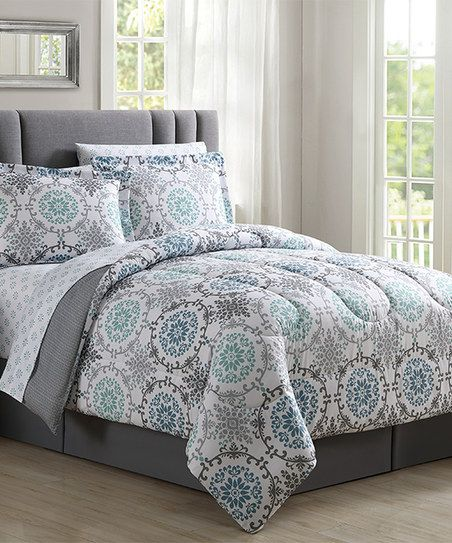 Attractive SL Home Fashions Gray Spa Nessa Eight Piece Comforter Set