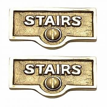 2 Switch Plate Tags Stairs Name Signs Labels Lacquered Brass Switch Plates Plates On Wall Name Signs