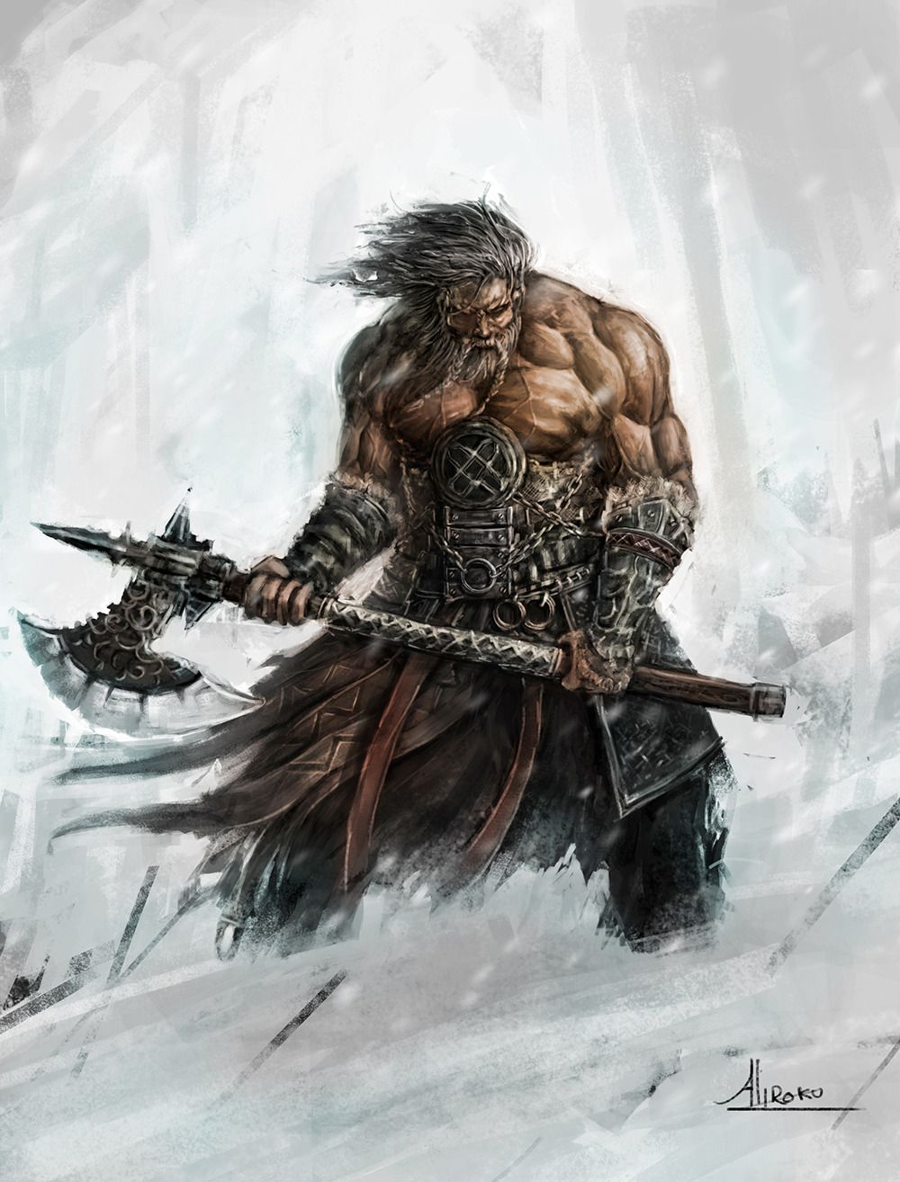 Barbarian Overcomes The Worst Of Winter Character Art