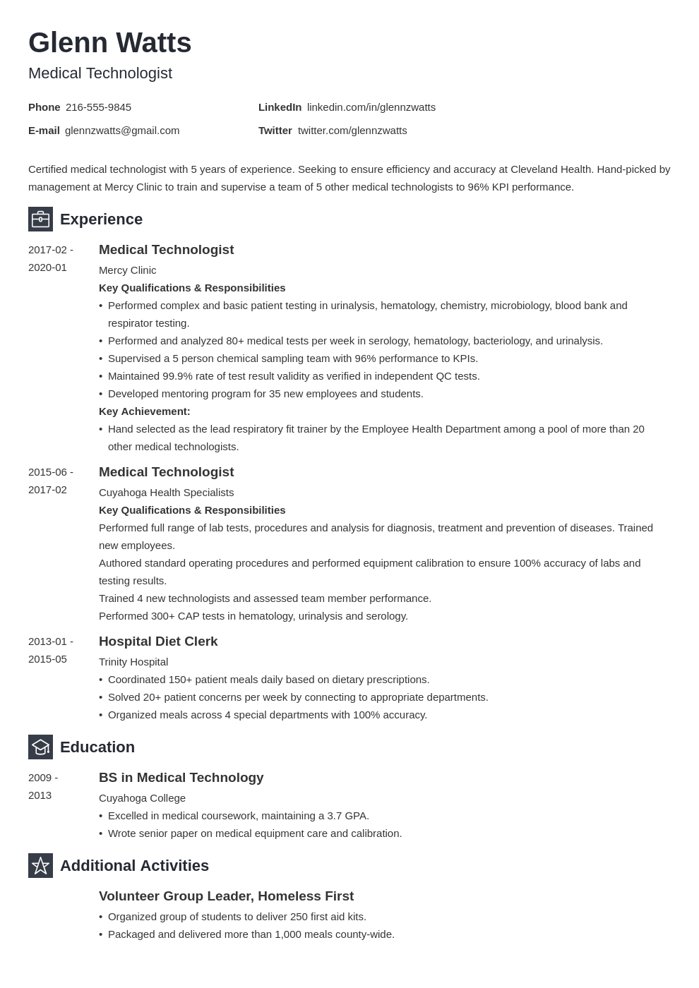 Medical Technologist Resume Example Template Newcast Resume Examples Resume Layout Job Resume Examples