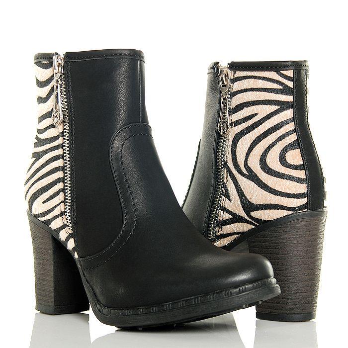 Botki Czarne Klasyczne Zwierzeca Pieta Zebra Boots Shoes Wedge Boot
