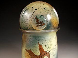 "COOKIE JAR CANISTER Lidded Jar with tree leaves in ""Green Leaf"" Glaze"