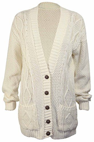 New Womens Ladies Knitted Long Sleeve Boyfriend Button CARDIGAN Size 8 10 12 14