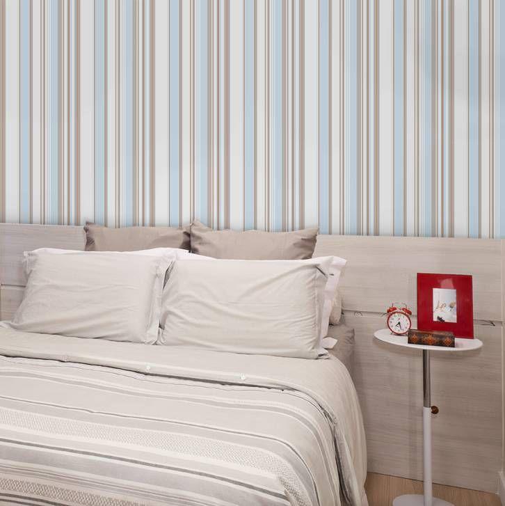 Papel de parede listrado azul beb bege e branco 061 - Papel de pared bebe ...