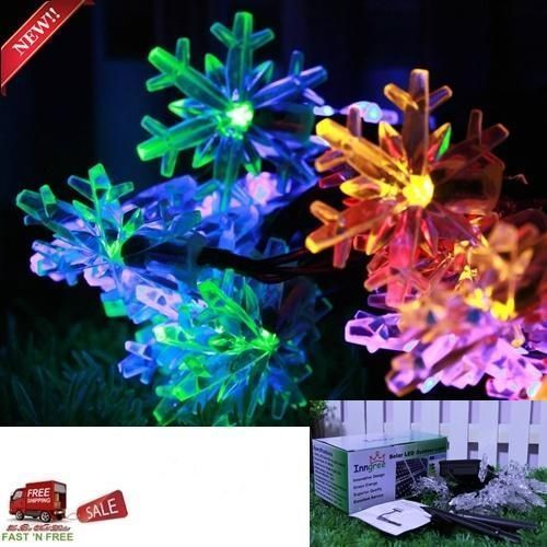 30 LED Snowflake Solar String Light 20 ft Waterproof Decorations - solar christmas decorations