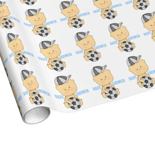 Soccer Baby Shower Wrapping Paper Blue It S A Wrap Pinterest