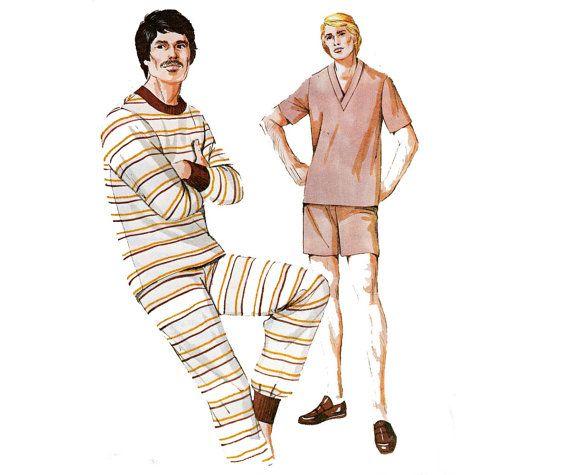 70s Mens Pajamas Pattern Kwik Sew 522 Retro Stretch Knit Sleepwear ...