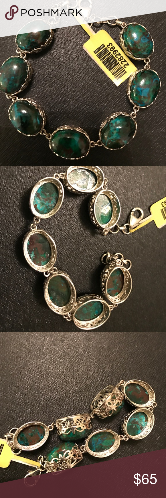 Australian Chrysocolla Bracelet Nice piece of jewelry. Stone is very unique. Platinum overlay sterling silver. Size 7.5 inch. Jewelry Bracelets