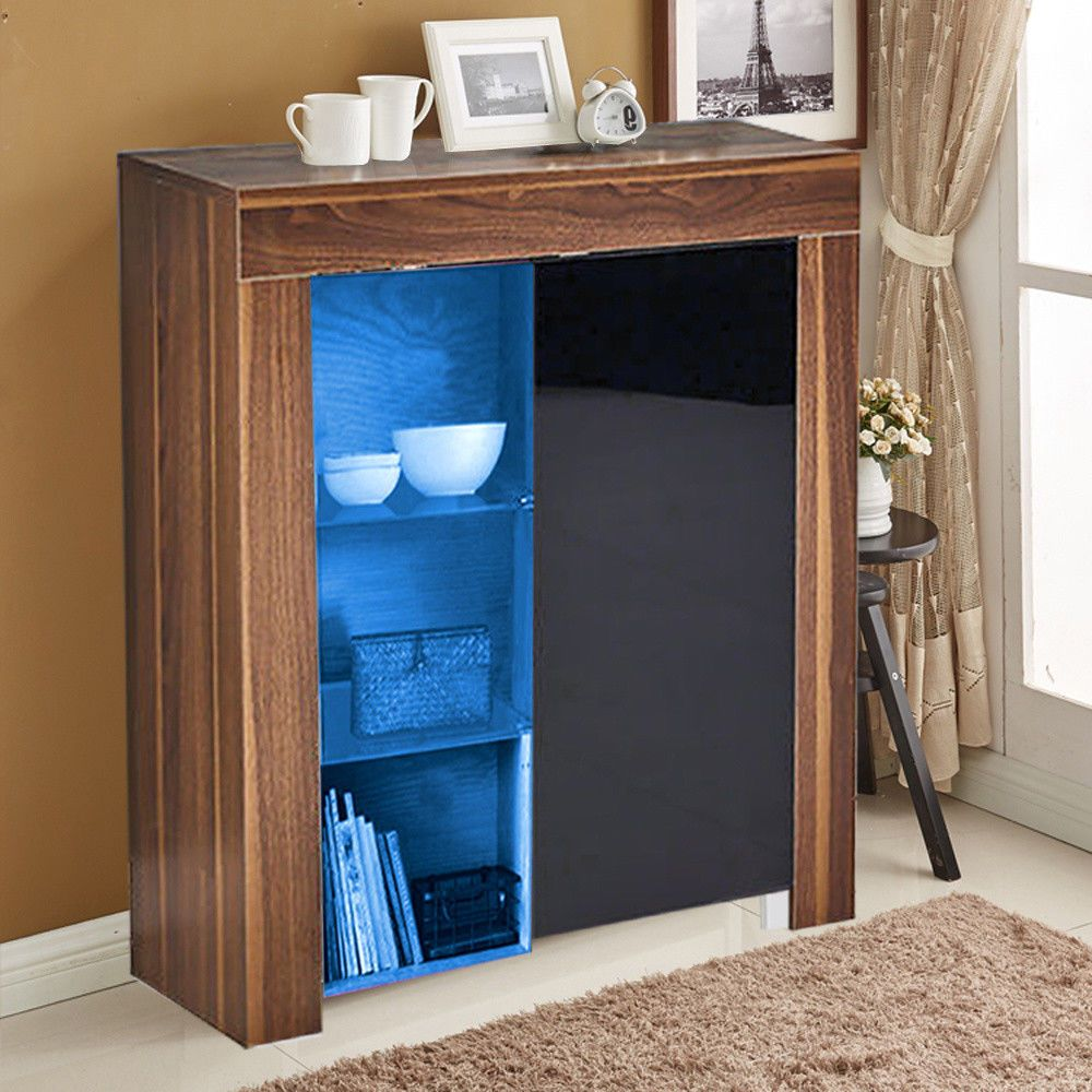 Walnut Gloss Front Living Room Furniture Display Cabinet