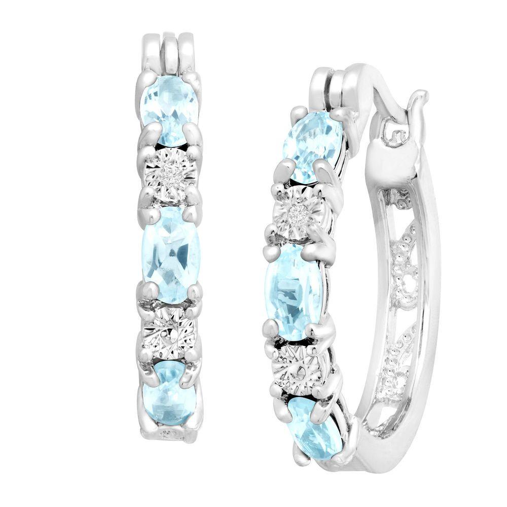 dfdd46189 1 5/8 ct Natural Sky Blue Topaz Hoop Earrings w/ Diamonds in Platinum over  Brass #Finecraft #Hoops