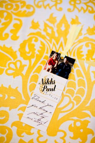 As a favor, each guest received a book chosen specifically for them with this personalized bookmark.