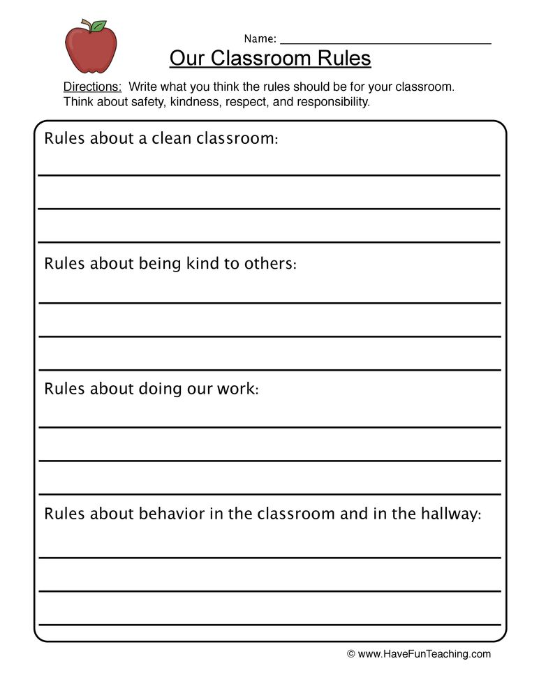 Classroom Rules Worksheet   Classroom rules, Back to ...
