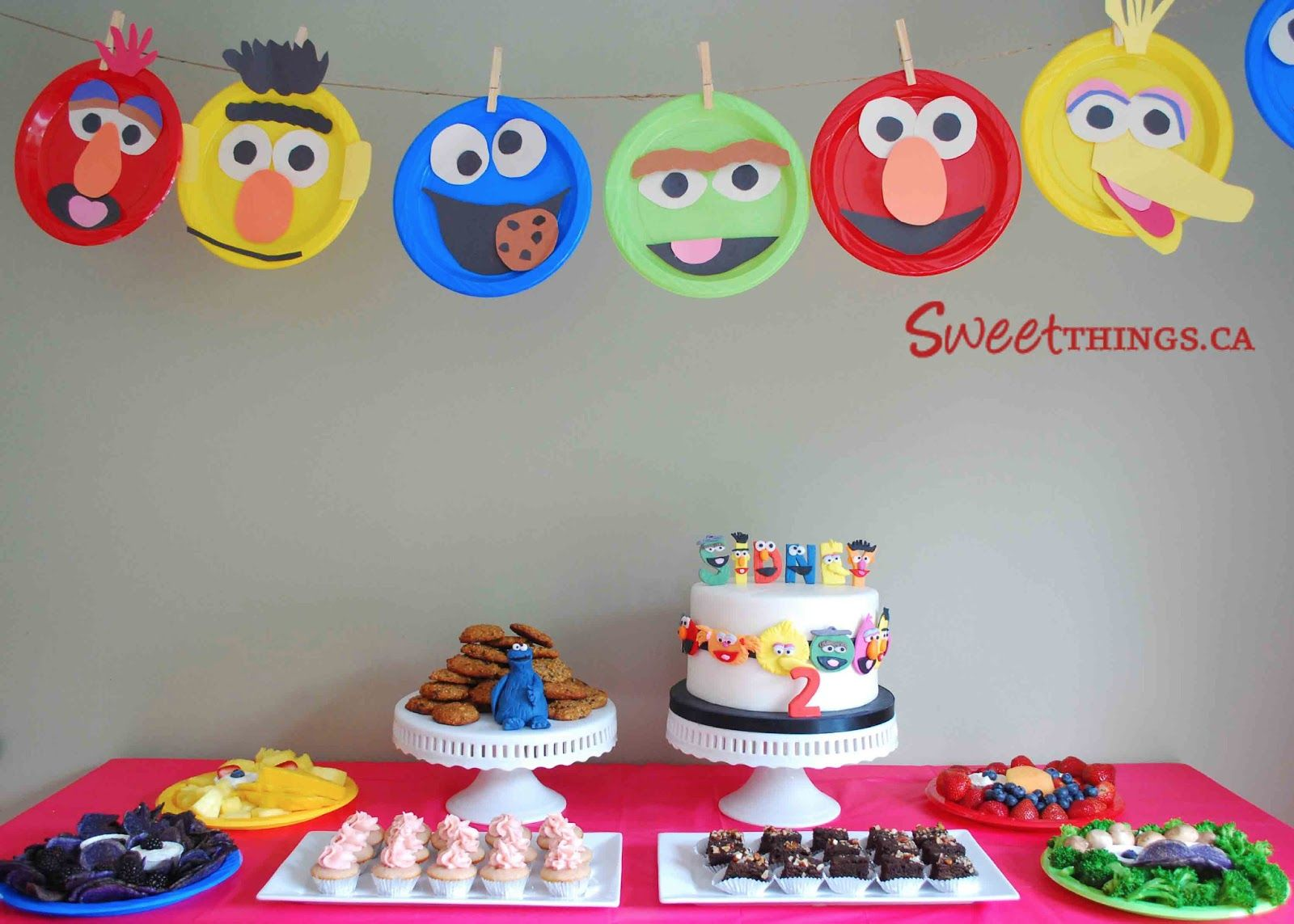 Paper plate character banner | Sesame Street birthday party  sc 1 st  Pinterest & Paper plate character banner | Sesame Street birthday party | for ...