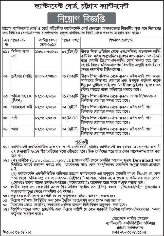 Cantonment Board Chittagong Job Circular | Job Circular