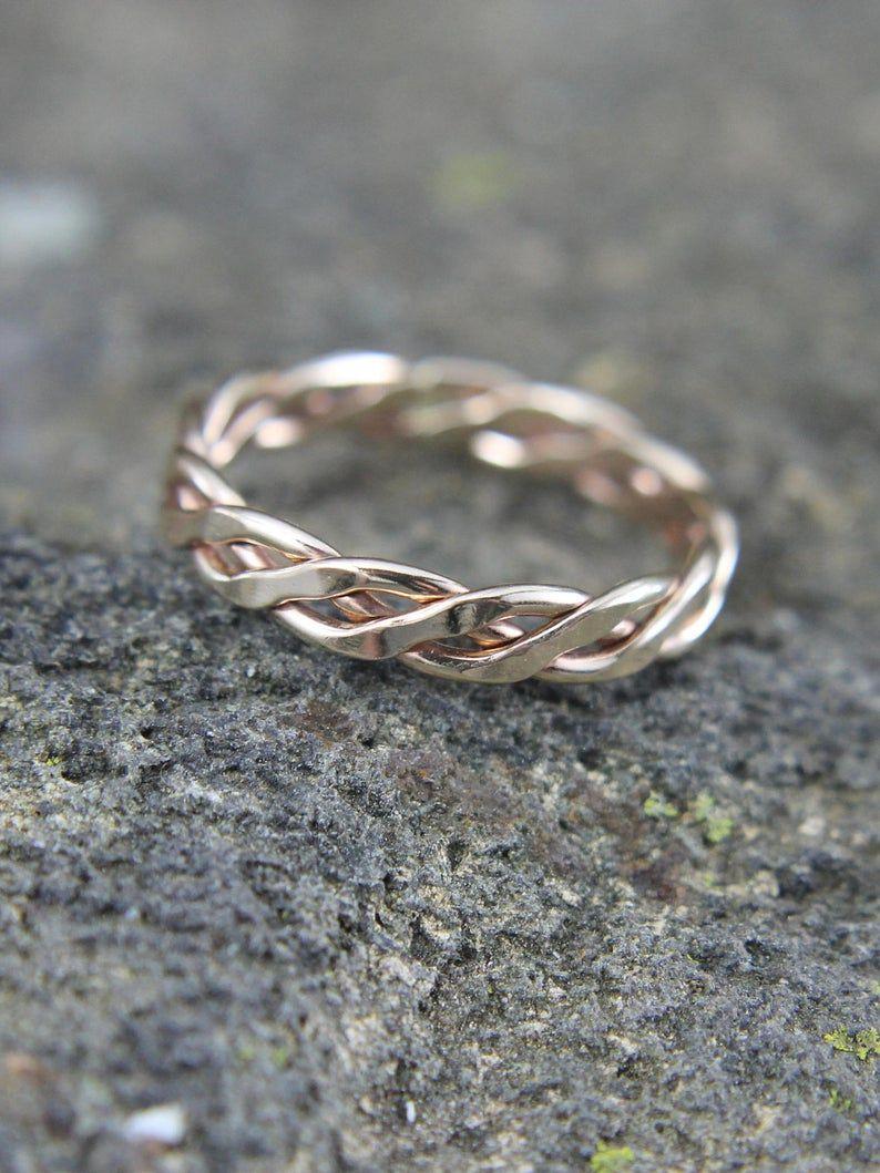 Anillo vikingo de relleno de oro de 14K, forjado retorcido, trenzado, nudo celta de tejía infinito, anillo de hombre o señora de diseño de giro tribal, regalo para él o ella