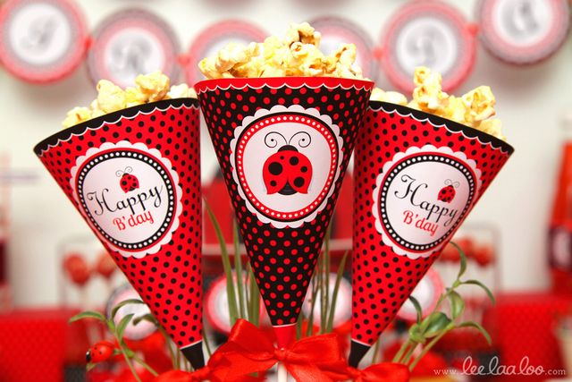 Popcorn at a Ladybug Party #ladybugparty #popcorn