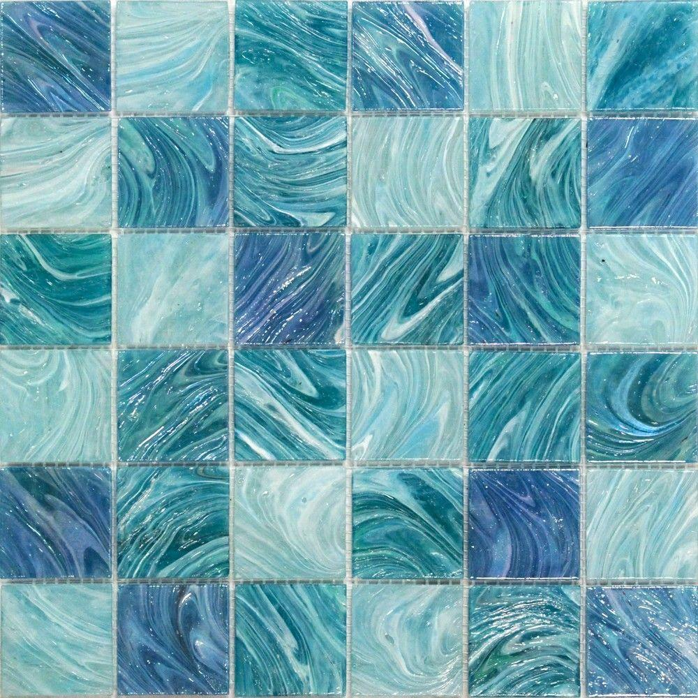 Ivy Hill Tile Aqua Blue Sky Mesh Mounted Squares 11 3 4 In X 11 3 4 In X 5 Mm Glass Mosaic Tile Ext3rd104494 The Home Depot Glass Floor Glass Mosaic Tiles Mosaic Wall Tiles