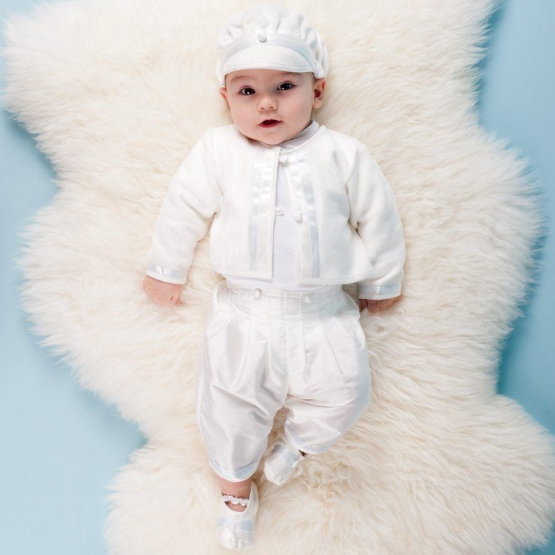 Faithclover Long Christening Outfit for Boys Baptism Formal Set with Hat