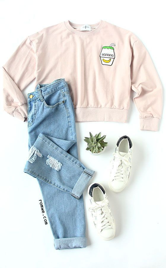 Pink Drop Shoulder Embroidered Sweatshirt with blue ripped denim pants and white sneakers  rowme com is part of Teen fashion outfits -