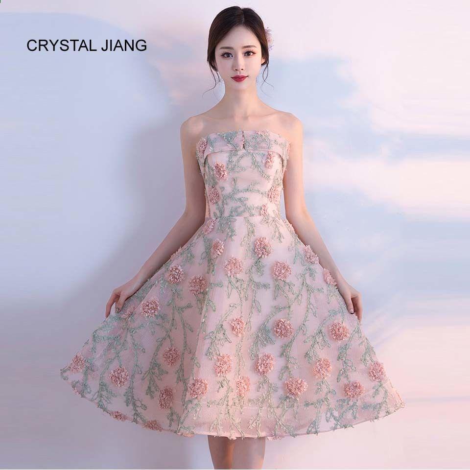 Crystal Jiang 2018 Druhna Sukienka Bez Ramiaczek 3d Kwiaty Vestidos De Festa Vestido L Prom Dress Short Lace Cheap Homecoming Dresses Floral Homecoming Dresses