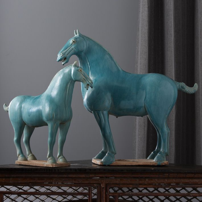 Chinese Han Dynasty Turquoise Horses, Sharing Luxury