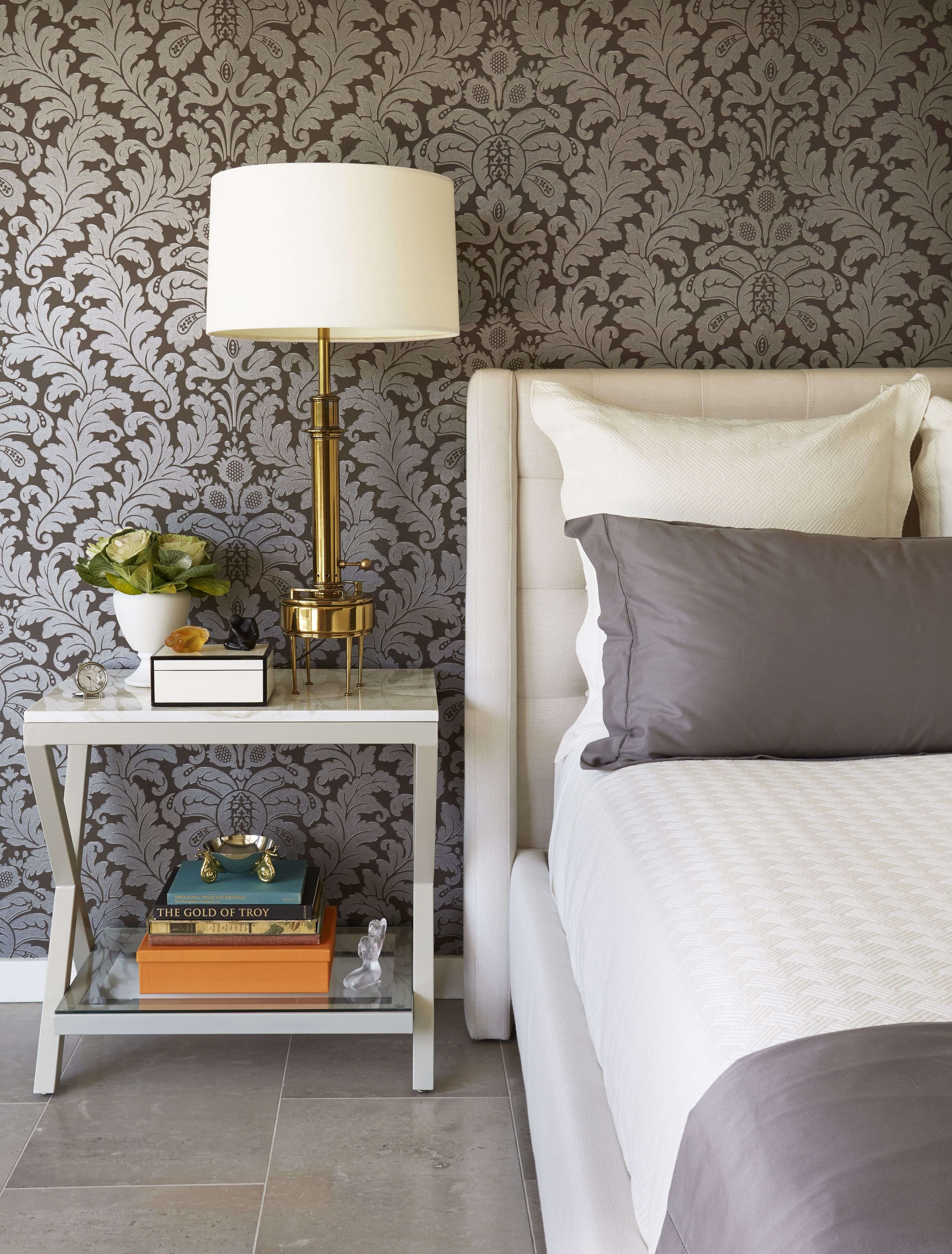 Palm Spring Master Bedroom With Custom Headboard And Dramatic Wallpaper Master Bedroom Wallpaper Indian Bedroom Design Bedroom Wallpaper Ideas 2019