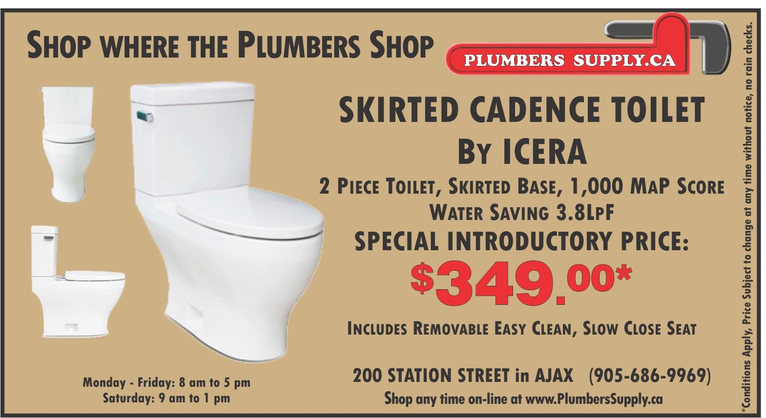 JUST ARRIVED!!! Skirted 2 piece toilets with AMAZING 3.8LPF flush Capability!  Be quick - we will sell out of this introductory price units fast!   CADENCE BY ICERA, 1,000 MaP Score, at only 3,8LpF,  Introductory Price $349.00