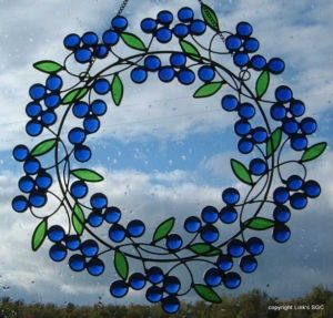 stained glass blue berry wreath window hanging | Stained Glass Blue Berry Wreath window hanging