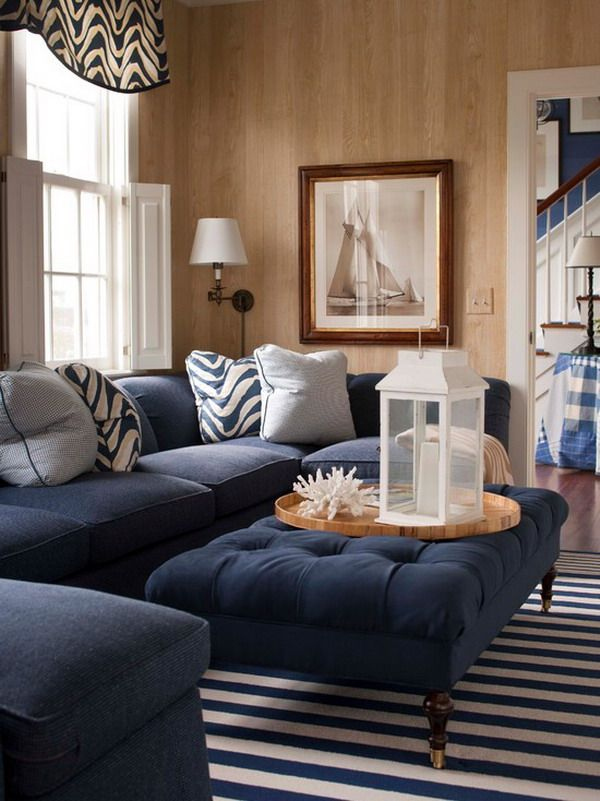 Traditional Nautical Living Room Plan With Elegant Blue Ottoman
