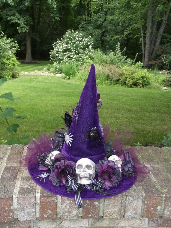 Purple Witch Hat / Skulls and Spiders Witch Hat / Velveteen Witch Hat / By English Rose Designs Oh