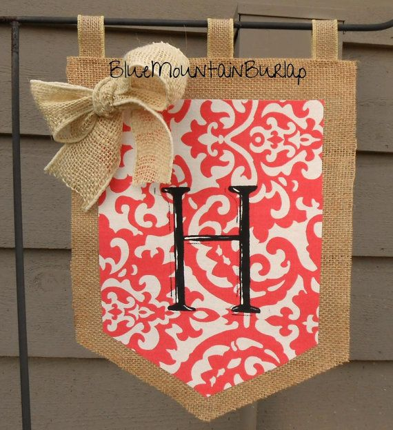 Burlap Coral Garden Flag with Initial, Summer Garden Flag, Monogram Garden Flag, Summer Burlap Garden Flag on Etsy, $22.00