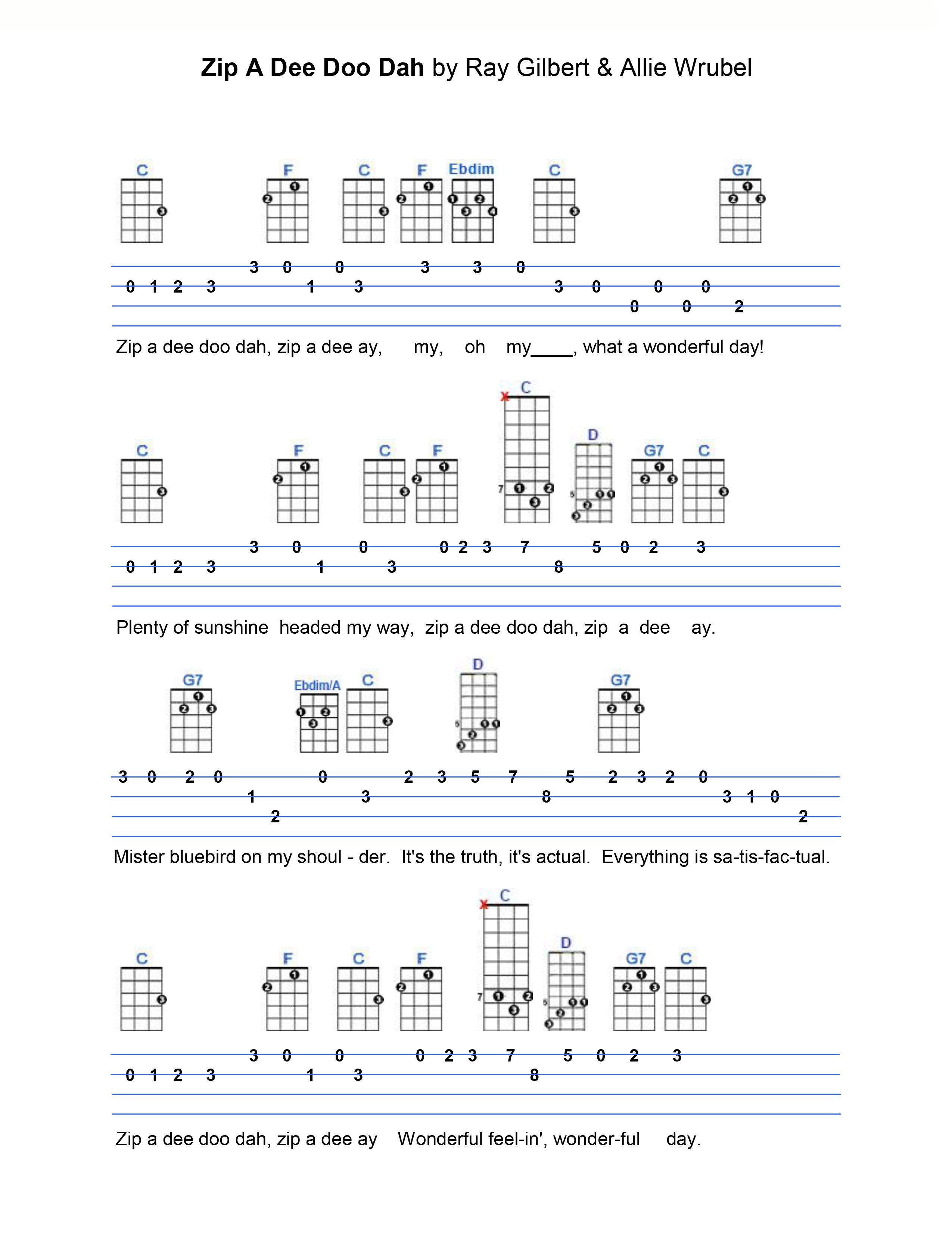 Zip a dee doo dah ukulele tabs pinterest zip ukulele tabs instruments hexwebz Images