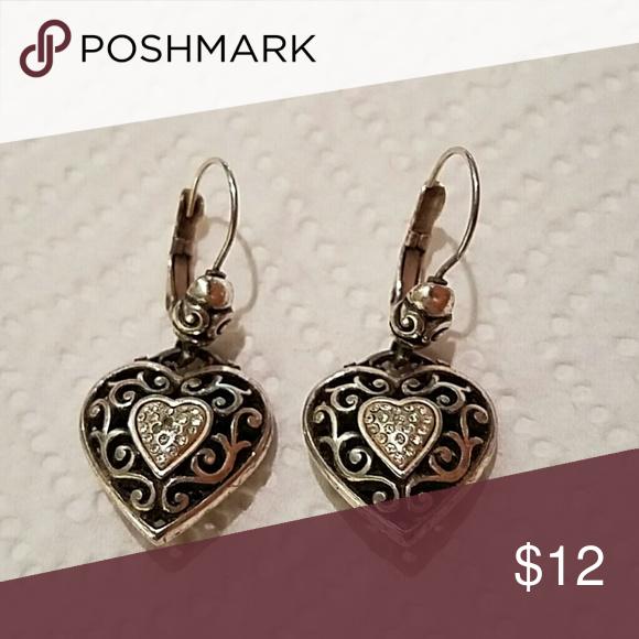 Brighton heart earrings In good condition. Brighton Jewelry Earrings