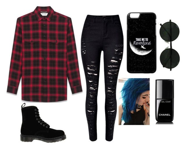 """""""Untitled #13"""" by imyourcatch ❤ liked on Polyvore featuring Yves Saint Laurent, Dr. Martens and Chanel"""