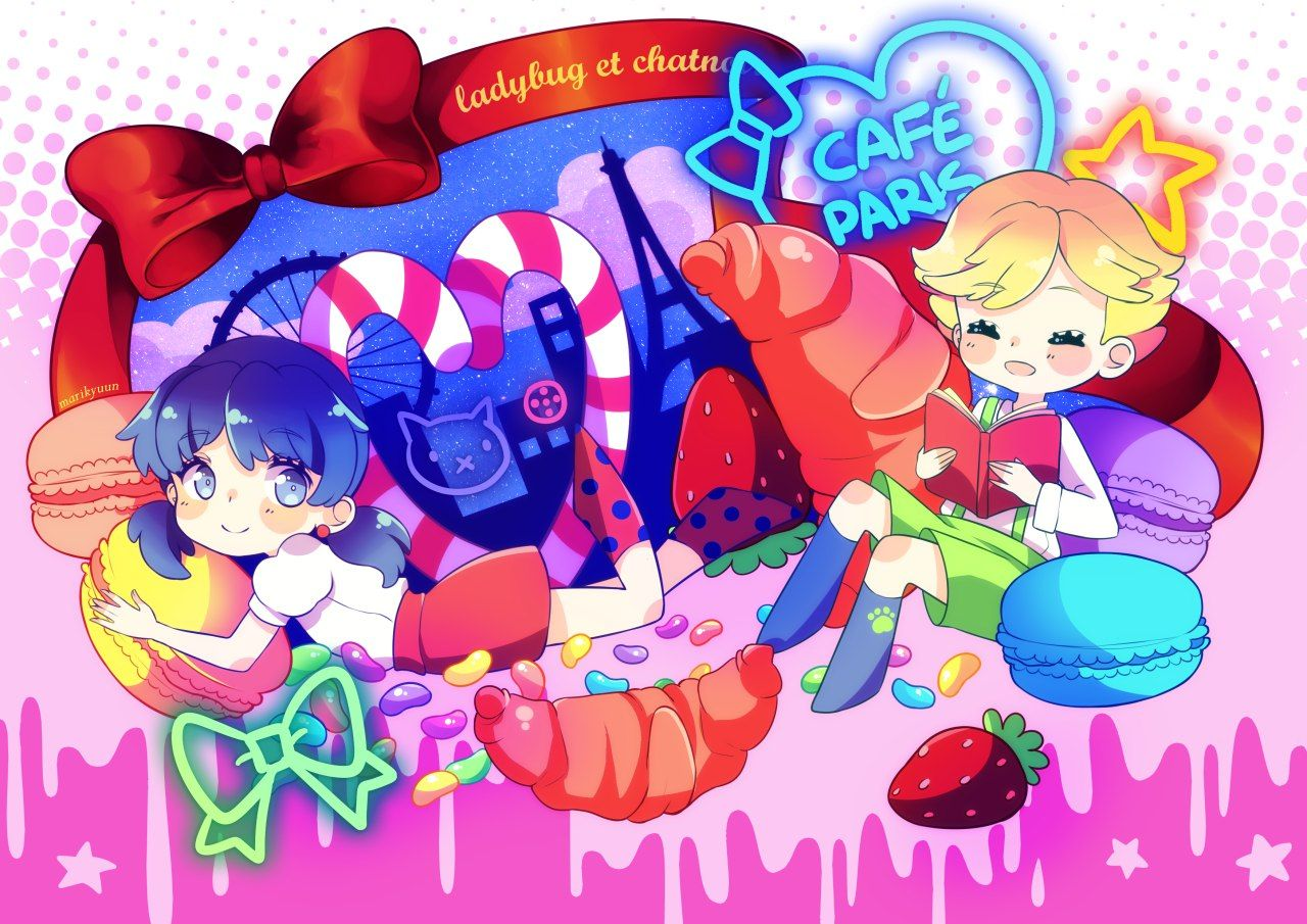 Cuties and sweets~ (Miraculous Ladybug, Marinette, Adrien, chibi, cute)