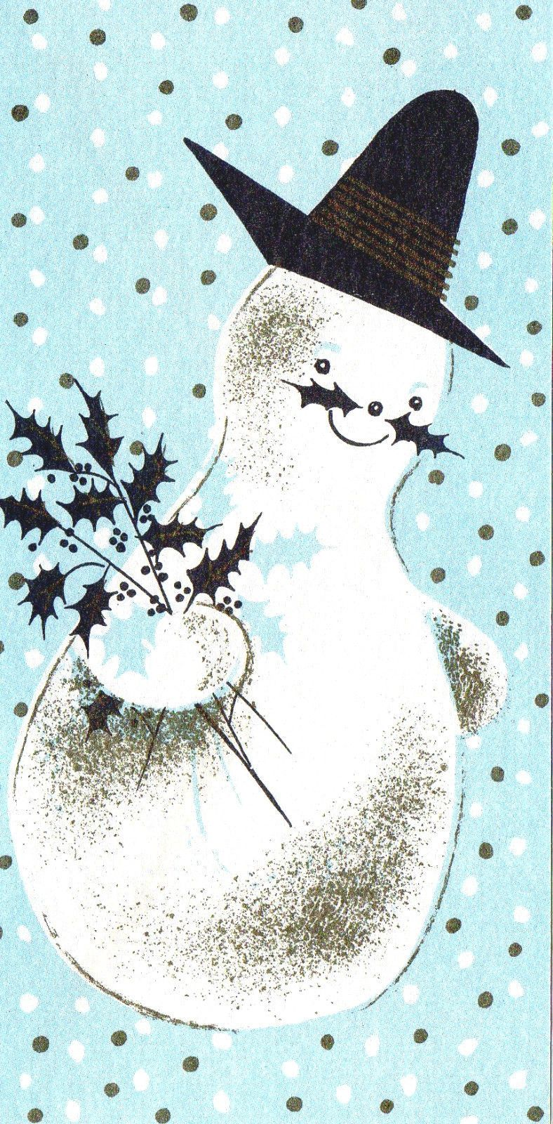 Vintage Xmas Card Cute Snowman Has Holly Leaves Moustache W Gold
