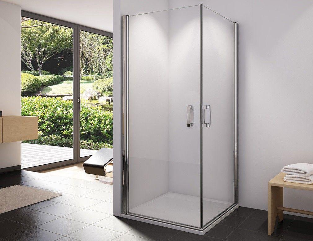 Dusche Eckeinstieg 100 x 100 x 195 cm Pendeltür (mit