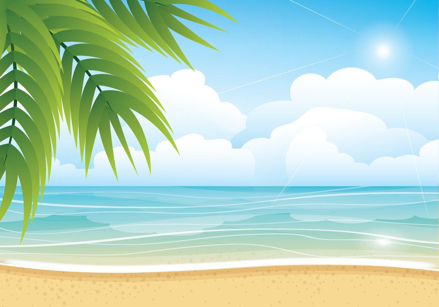 Tropical Summer Beach Vector Background