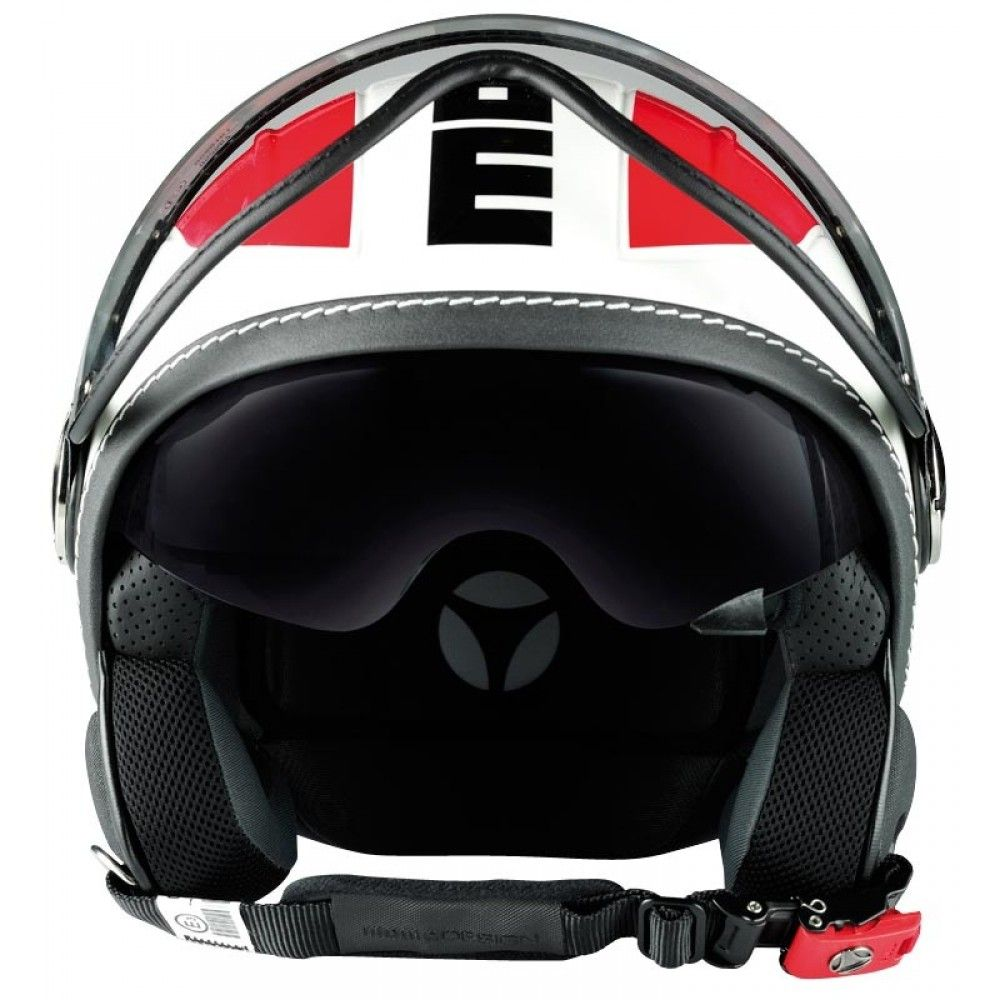 Momo Avio Helmet - White Quartz Glossy / Red | Open Face Motorcycle Helmets | FREE UK delivery - The Cafe Racer