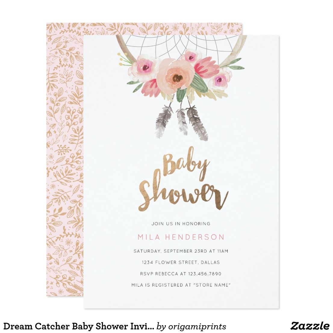 Dream Catcher Baby Shower Invitation Rustic and girly watercolor ...