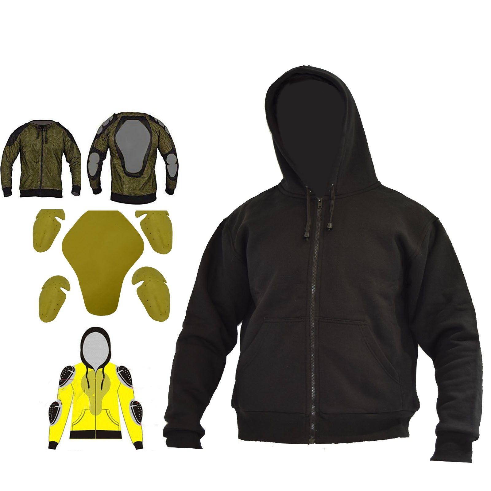 Motorcycle Mens Made With Kevlar Hoodie Full Protective Armoured Lined Hood