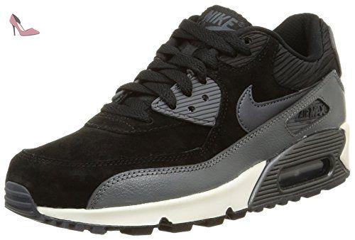 Nike WMNS Air Max 90 LTHR - Chaussures De Sport, Femme, Noir (Black/MTLC Hematite-DRK gry-SL), Taille 40