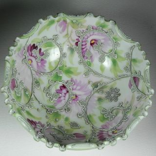 Antique Japanese Bowl Applied Slip Paste Heavy Moriage Green Pink Floral Beads photo