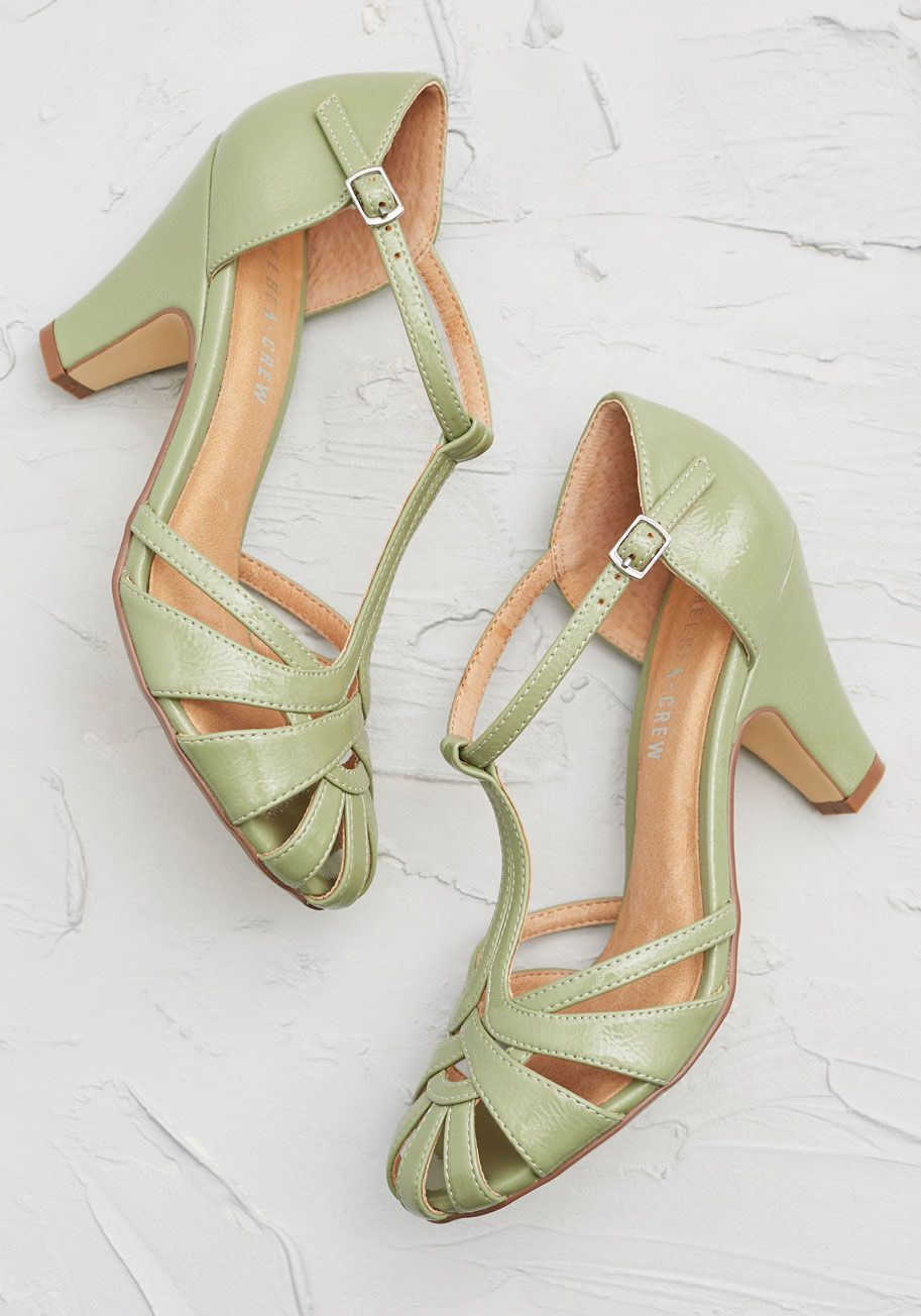 669d183a4b6 There Chic Goes T-Strap Heel - With these mint green heels from Chelsea Crew  leading the way