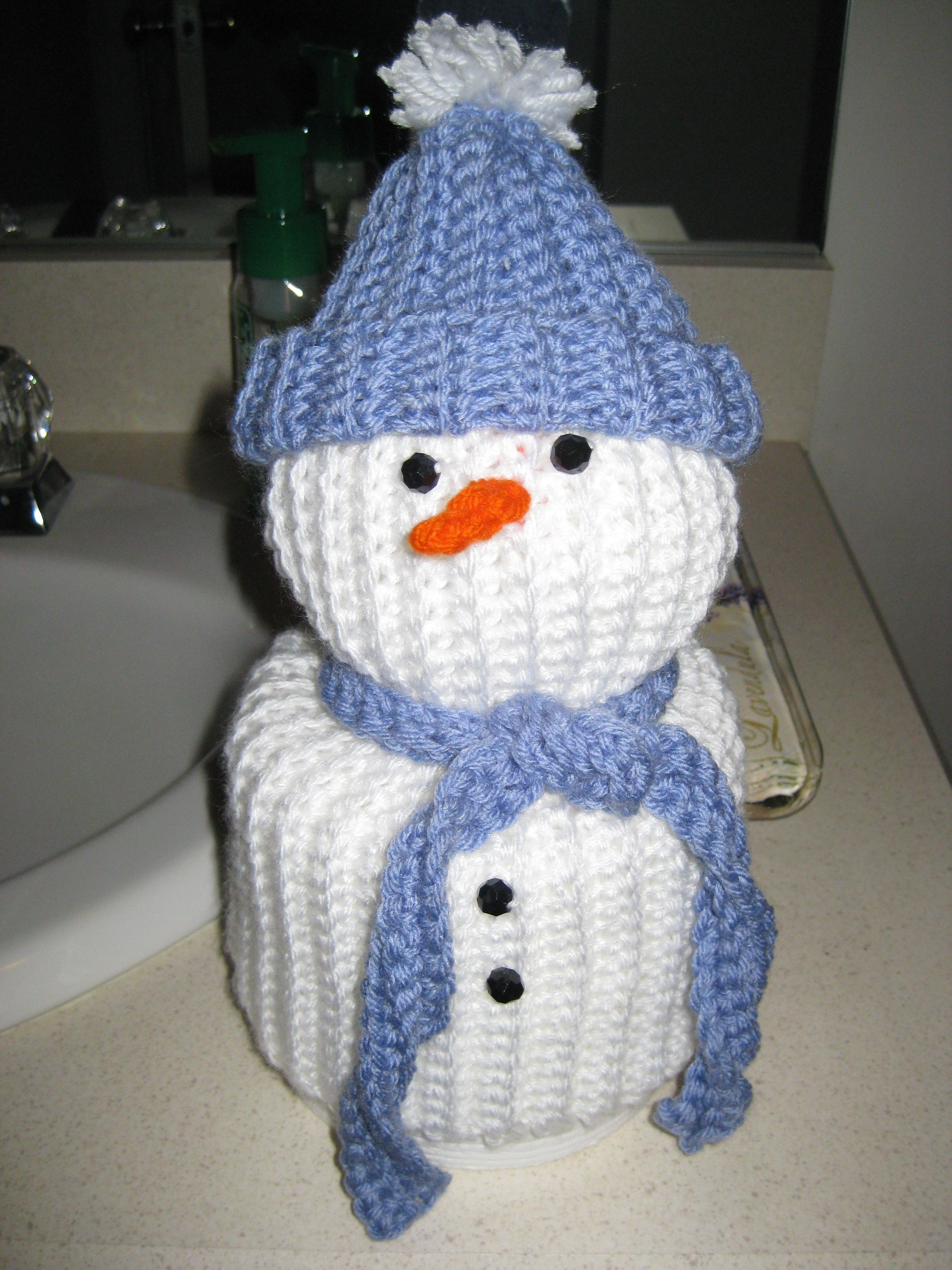 Snowman Toilet Paper Roll Cover Crochet Projects