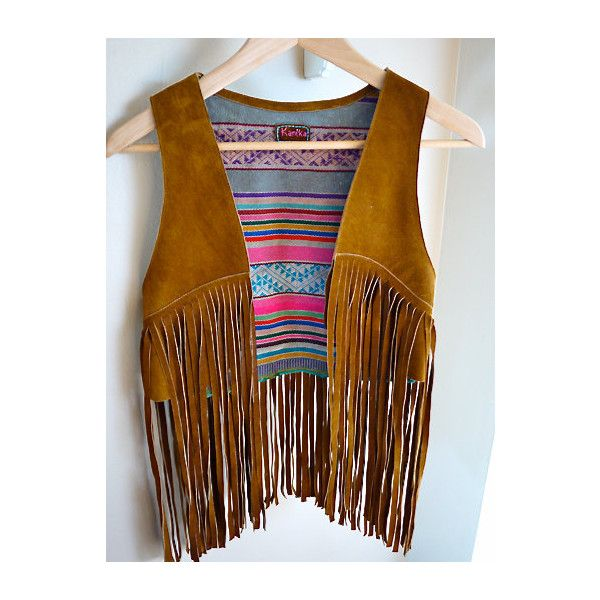 Amazing Vintage-Inspired Brown Suede Vest with Andean Patterned... ❤ liked on Polyvore