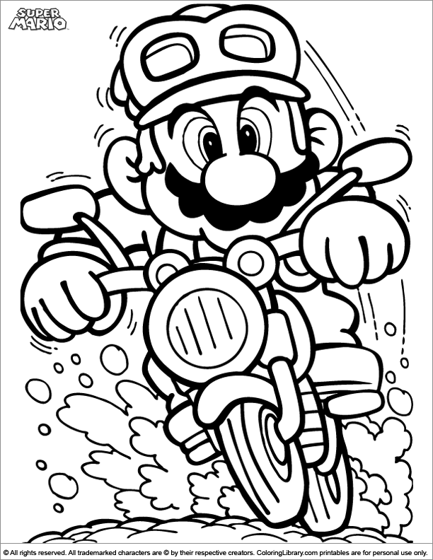 super mario brothers coloring picture